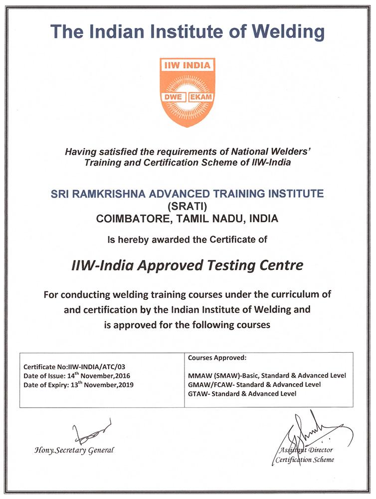 Accreditation, Sri Ramakrishna Advanced Training Institute, Srati ...